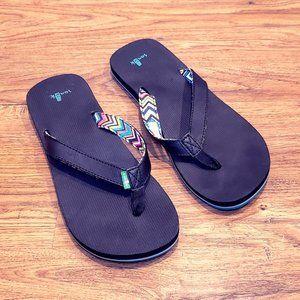 Sanuk Women's Black and Teal Flip Flops Sandals